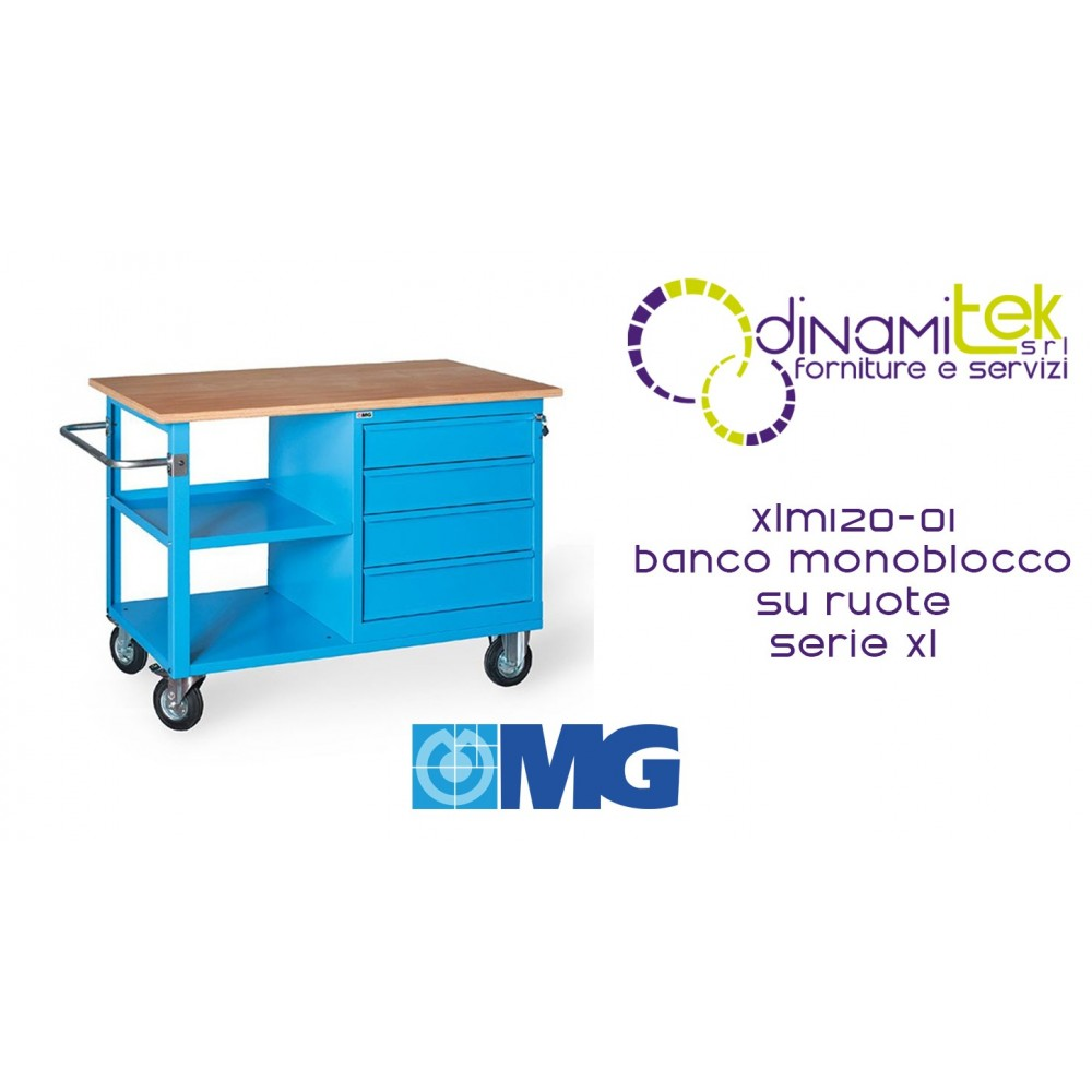 XLM120 01 MONOBLOC COUNTER ON WHEELS WOODEN TOP 4 DRAWERS AND 1 COMPARTMENT MM1200X700X905H MG XL SERIES Dinamitek 1