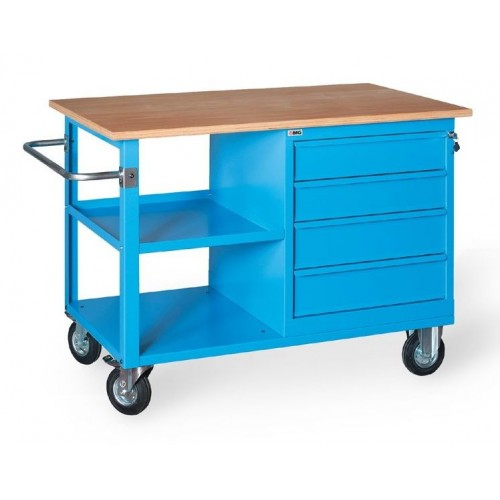 XLM120 01 MONOBLOC COUNTER ON WHEELS WOODEN TOP 4 DRAWERS AND 1 COMPARTMENT MM1200X700X905H MG XL SERIES Dinamitek 2
