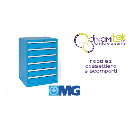 RX100 62 TOOL CHEST 6 FULLY EXTRACTABLE DRAWERS MM 717X640X1000H MG MIDI-RX LINE Dinamitek 1