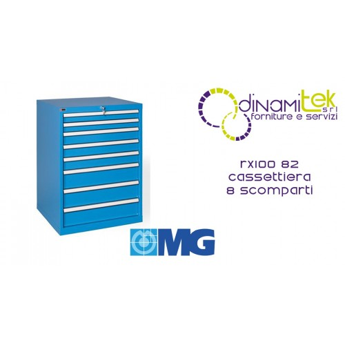 RX100 82 TOOL CHEST 8 FULLY EXTRACTABLE DRAWERS MM 717X640X1000H MG MIDI-RX LINE Dinamitek 1
