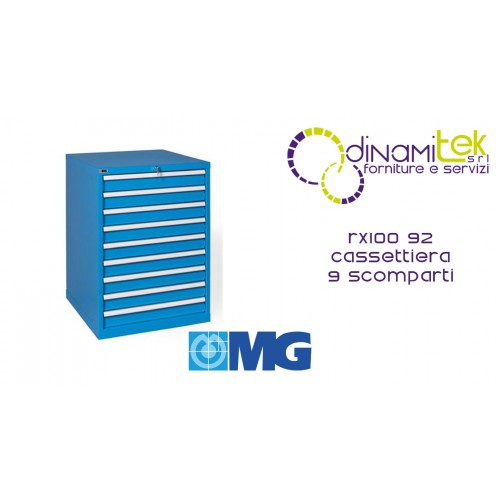 RX100 92 TOOL CHEST 9 FULLY EXTRACTABLE DRAWERS MM 717X640X1000H MG MIDI-RX LINE Dinamitek 1