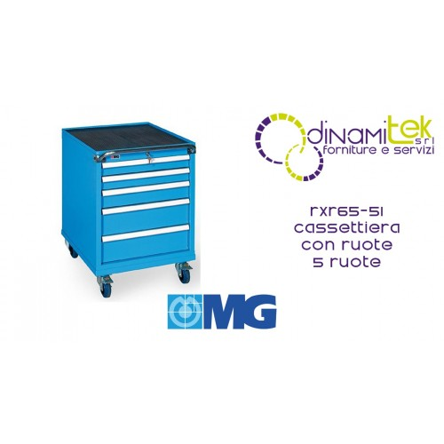 RXR65 51 TOOL CHEST 5 FULLY EXTRACTABLE DRAWERS MM 564X640X820H MG MIDI-RX LINE Dinamitek 1