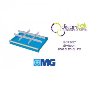 SD7507 RX DIVIDERS FOR DRAWERS 75 MM WITH 2 SLOTTED DIVIDERS 27 U 6 TRANSVERSAL DIVIDERS 12 U MG MIDI-RX LINE Dinamitek 1