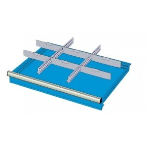 SD7507 RX DIVIDERS FOR DRAWERS 75 MM WITH 2 SLOTTED DIVIDERS 27 U 6 TRANSVERSAL DIVIDERS 12 U MG MIDI-RX LINE Dinamitek 2