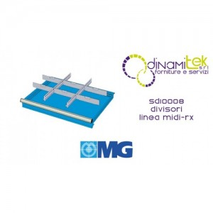 SD10008 RX DIVIDERS FOR DRAWERS MM 100-125 WITH 2 SLOTTED DIVIDERS 27 U 6 TRANSVERSAL DIVIDERS 12 U MG MIDI-RX LINE Dinamitek 1