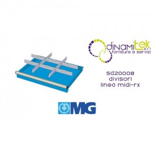 SD20008 RX DIVIDERS FOR DRAWERS MM 200 WITH 2 SLOTTED DIVIDERS 27 U 6 TRANSVERSAL DIVIDERS 12 U MG MIDI-RX LINE Dinamitek 1