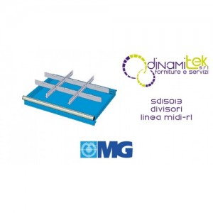 SD15013 SEPARADORES RL PARA CAJONES MM 150 CON 2 SEPARADORES RANURADOS 27 U 6 SEPARADORES TRANSVERSALES 12 U MG LíNEA MIDI-RX Dinamitek 1