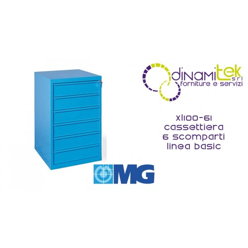 XL100 61 TOOL CHEST 6 FULLY EXTRACTABLE DRAWERS MM 600X620X1000H MG BASIC LINE Dinamitek 1