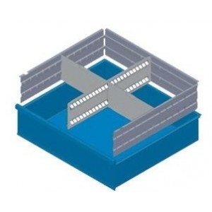 KXL150 01 DIVIDERS FOR DRAWERS MM 150 WITH 2 SLOTTED DIVIDERS AND 6 TRANSVERSAL DIVIDERS MG BASIC LINE Dinamitek 2