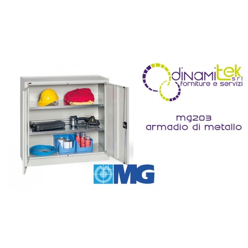 MG203 CABINET WITH ROD LOCK DOORS WITH 4 ADJUSTABLE GALVANIZED SHELVES MM 1000X400X1000H MG Dinamitek 1
