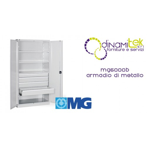 MG6000B CABINET WITH ROD LOCK DOORS WITH 3 ADJUSTABLE GALVANIZED SHELVES AND 4 INTERNAL DRAWERS MM 1023X555X2000H MG Dinamitek 1