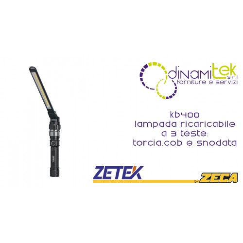 KB400 3-HEAD RECHARGEABLE LAMP: TORCH, COB AND JOINTED. WITH 100-240V ZETEK USB CHARGER Dinamitek 1