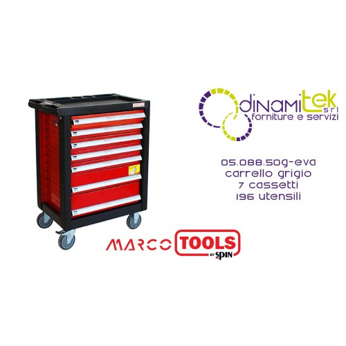 05.088.50 G-EVA TROLLEY 7 DRAWERS SPIN WITH 196 TOOLS MARCO TOOLS Dinamitek 1