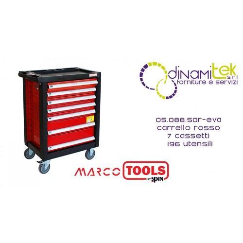 05.088.50 R-EVA TROLLEY 7 DRAWERS SPIN WITH 196 TOOLS MARCO TOOLS Dinamitek 1