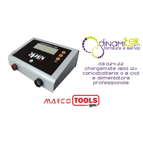 03.024.22 CHARGEMATE 130A 12V CARICABATTERIE A 8 CICLI E ALIMENTATORE PROFESSIONALE SPIN MARCO TOOLS Dinamitek 1