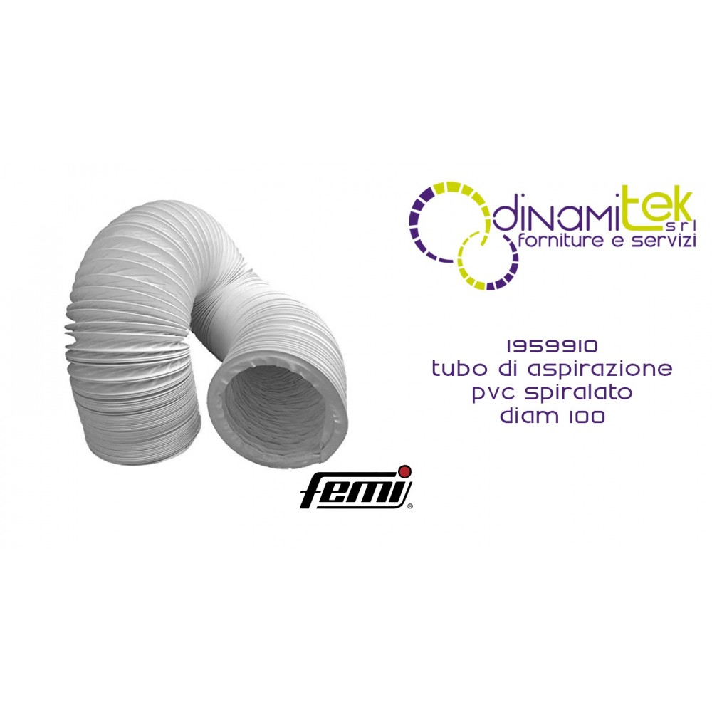 FEMI 1959910 TUBO DI ASPIRAZIONE PVC SPIRALATO D.100 AL METRO Dinamitek 1