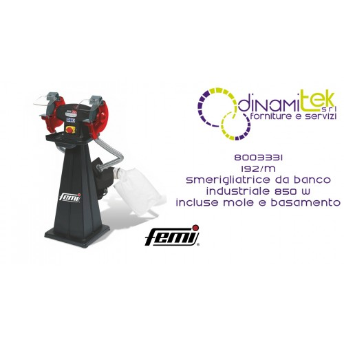 FEMI 8003331 192-M SMERIGLIATRICE DA BANCO INDUSTRIALE DOPPIA MOLA TRIFASE 850W INCLUSE MOLE-BASAMENTO INCLUSO Dinamitek 1