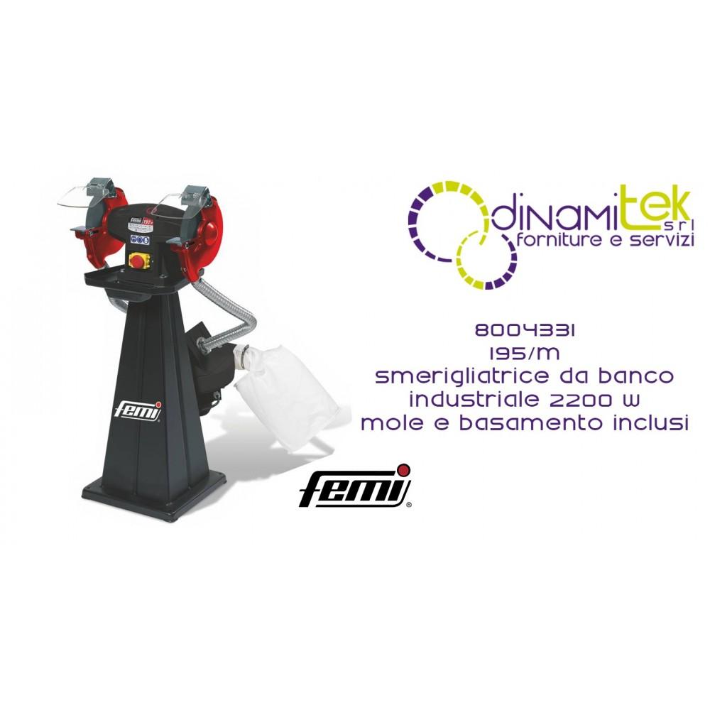 FEMI 8004331 195-M SMERIGLIATRICE DA BANCO INDUSTRIALE DOPPIA MOLA TRIFASE 2200W INCLUSE MOLE-BASAMENTO INCLUSO Dinamitek 1