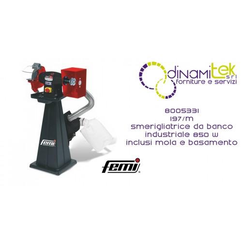 FEMI 8005331 197-M SMERIGLIATRICE DA BANCO INDUSTRIALE COMBINATA TRIFASE 850W INCLUSA MOLA-BASAMENTO INCLUSO Dinamitek 1