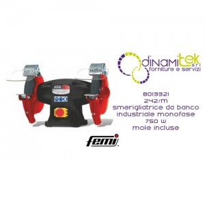 FEMI 8013321 242-M SMERIGLIATRICE DA BANCO INDUSTRIALE DOPPIA MOLA MONOFASE 750W INCLUSE MOLE Dinamitek 1