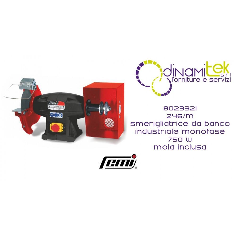 FEMI 8023321 246-M SMERIGLIATRICE DA BANCO COMBINATA INDUSTRIALE MONOFASE 750W INCLUSA MOLA Dinamitek 1