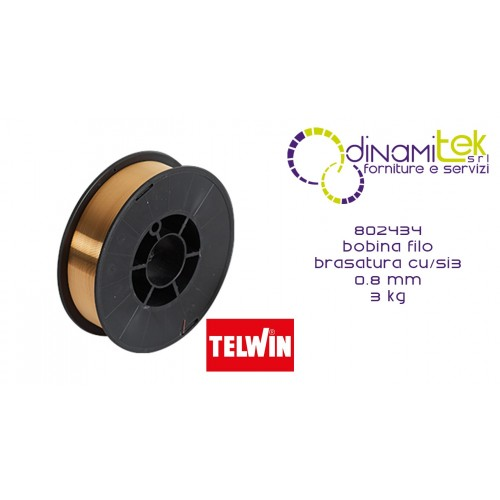 802434 ACCESSORIO SALDATRICE BOBINA FILO BRASATURA CU/SI3 0.8 mm 3 kg TELWIN Dinamitek 1