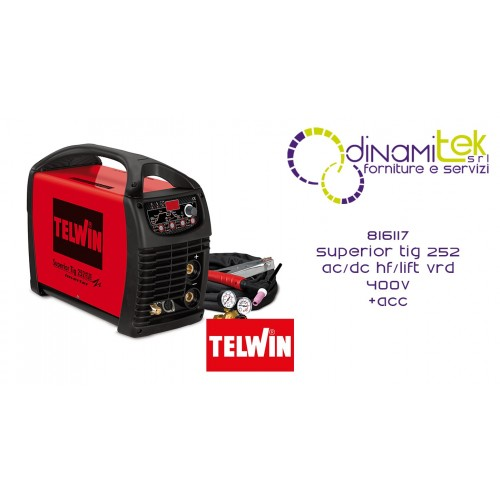 816117 SALDATRICE SUPERIOR TIG 252 AC/DC HF/LIFT VRD 400V + ACC. TELWIN Dinamitek 1