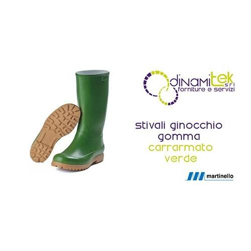Stivali al ginocchio Martinello in gomma naturale verde carrarmato Dinamitek 1