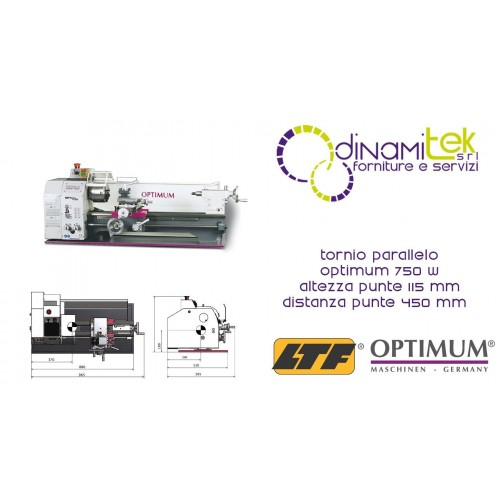 OPT050OP0320 - LATHE MODEL TU2304 - 750 W - HEIGHT OF CENTRES 115 MM - DISTANCE BETWEEN CENTERS 450 MM Dinamitek 1
