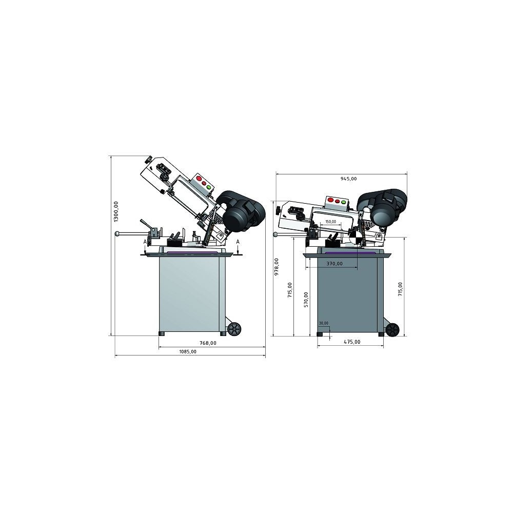 OPT057OP0131 - BAND SAWING MACHINE MODEL S 131GH FOR THE MACHINING OF METALS WITH A HEADBAND SWIVEL 220V Dinamitek 3