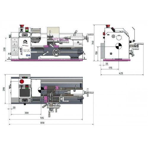 OPT050OP0310 - LATHE MODEL TU 2004 V WITH DIGITAL DISPLAY AND CONTINUOUS ADJUSTMENT OF THE RPM - POWER OUTPUT 230 V Dinamitek 4