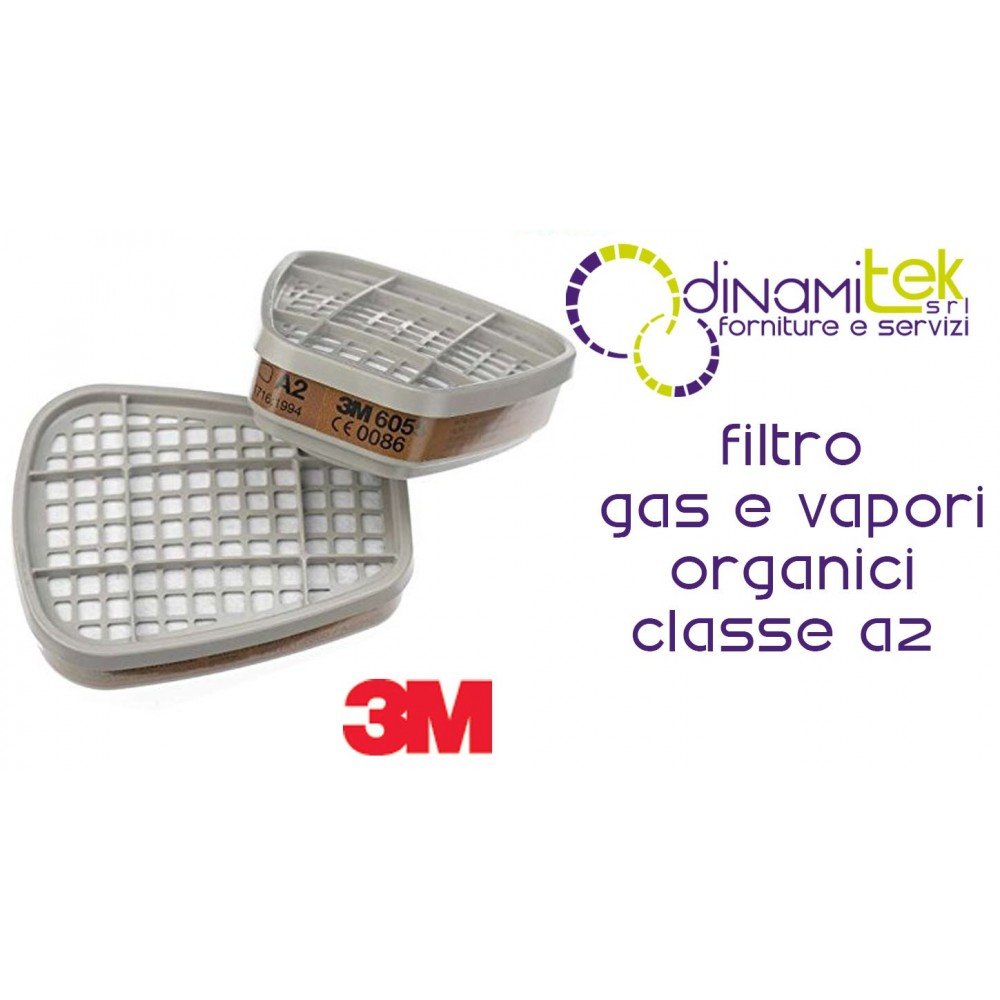 6055 COPPIA FILTRI PER GAS E VAPORI ORGANICI CLASSE A2 3M Dinamitek 1