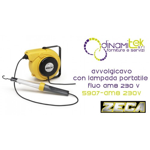 5907/AM8 230V AVVOLGICAVO CON LAMPADA PORTATILE FLUO AM8 230 V ZECA Dinamitek 1