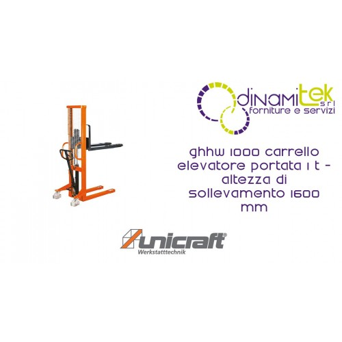 FORKLIFT WITH CAPACITY 1 T - LIFTING HEIGHT 1600 MM GHHW 1000 UNICRAFT Dinamitek 1
