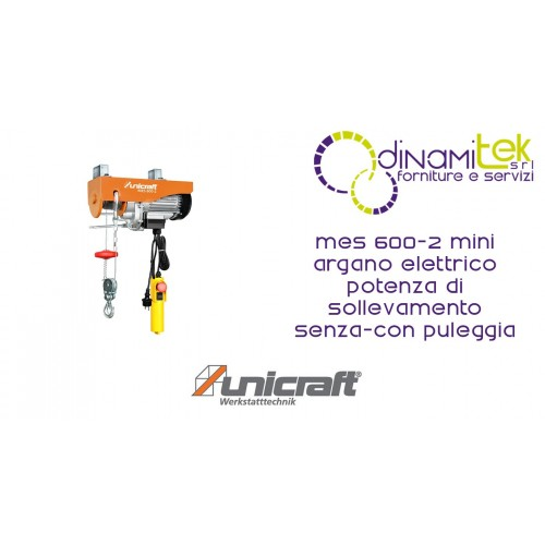 MINI ELECTRIC WINCH LIFTING POWER WITH PULLEY 300-600 KG MES 600-2 UNICRAFT Dinamitek 1