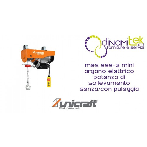 MINI ELECTRIC WINCH LIFTING POWER WITH PULLEY 500/999 KG MES 999-2 UNICRAFT Dinamitek 1