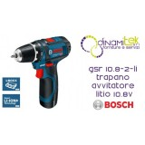 DRILL DRIVER BATTERY 10.8 V CON2BATT THE 2.0 AH AND CHARGER GSR 10,8-2-LI BOSCH Dinamitek 1