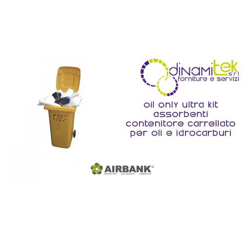 KIT ASSORBENTI AIRBANK CONTENITORE CARRELLATO PER OLI E IDROCARBURI OIL ONLY ULTRA Dinamitek 1