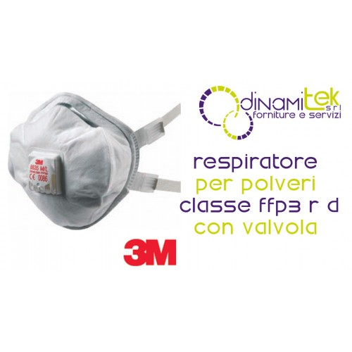 8835 RESPIRATORE FACCIALE FILTRANTE CLASSE FFP3 NR D CON VALVOLA 3M Dinamitek 1