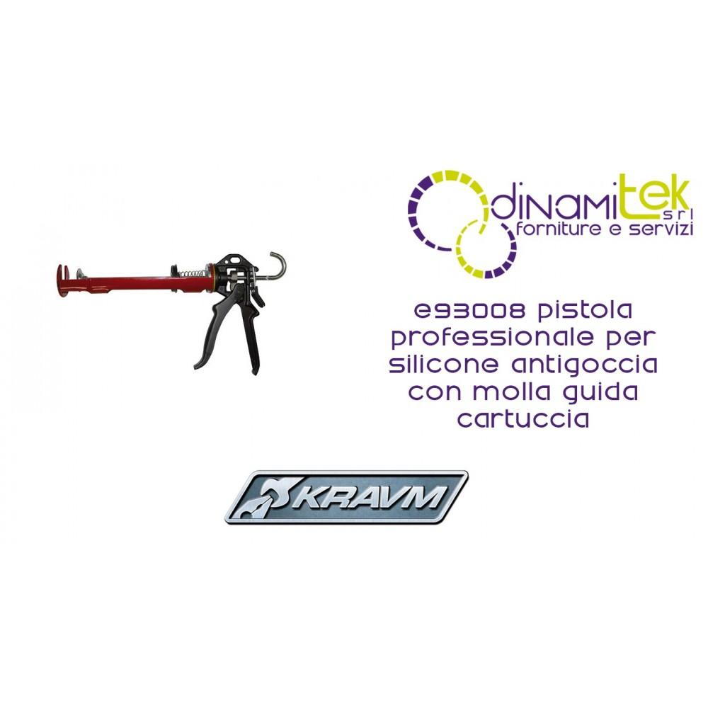 PISTOLA PROFESSIONALE PER SILICONE ANTIGOCCIA E93008 KRAVM CON MOLLA GUIDA CARTUCCIA Dinamitek 1