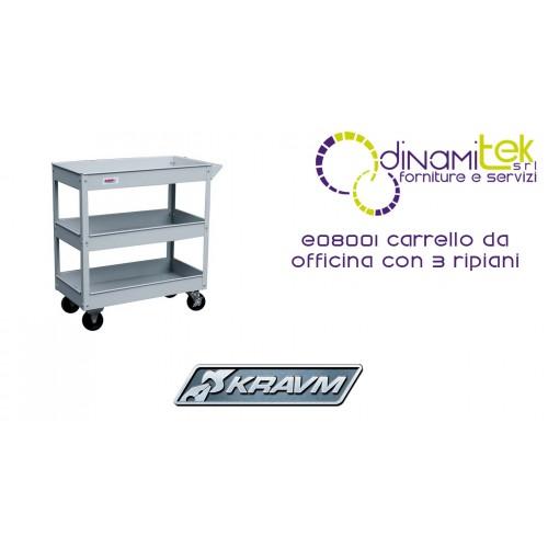 CARRELLO DA OFFICINA CON 3 RIPIANI E08001 KRAVM Dinamitek 1