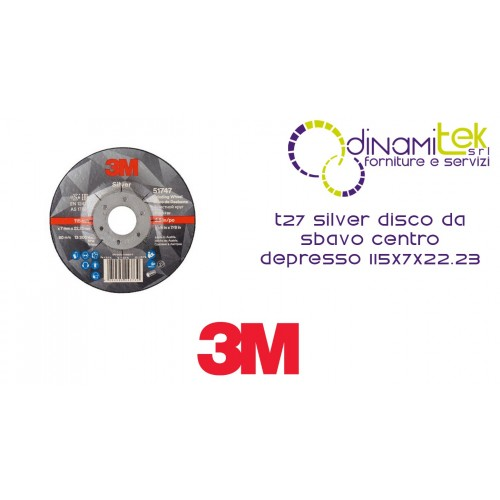 T27 DE PLATA DE RECTIFICADO DE DISCOS DE CENTRO DEPRIMIDO 115X7X22.23 51747 3M Dinamitek 1