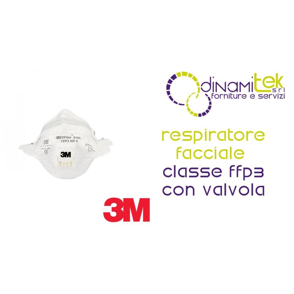 9163E RESPIRATORE FACCIALE FILTRANTE CLASSE FFP3 CON VALVOLA 3M Dinamitek 1