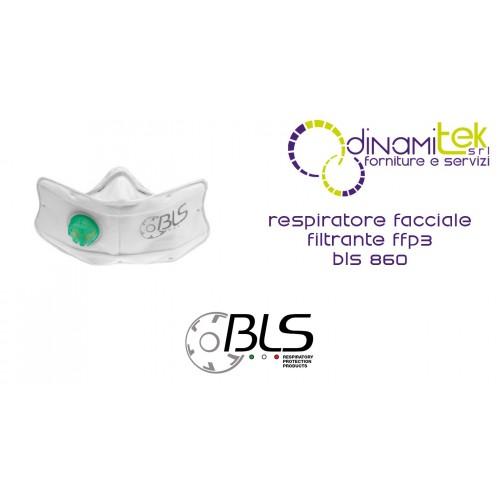 2071Z3 BLS 860 RESPIRATORE FACCIALE BLS FILTRANTE CLASSE FFP3 CON VALVOLA Dinamitek 1