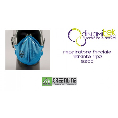 5200 RESPIRATOR FACIAL GREENLINE FILTER CLASS FFP2 WITHOUT VALVE Dinamitek 1