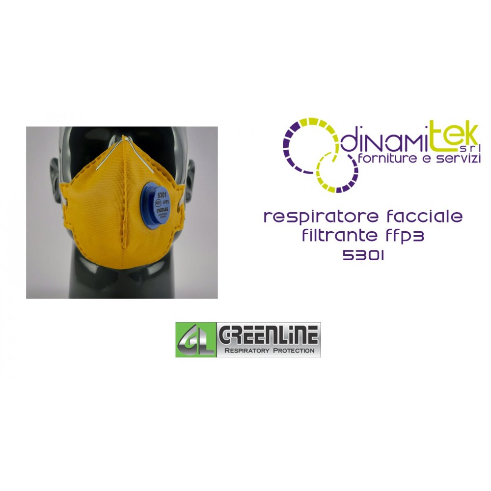 5301 RESPIRATEUR FACIAL GREENLINE FILTRE DE CLASSE FFP3 AVEC VALVE Dinamitek 1