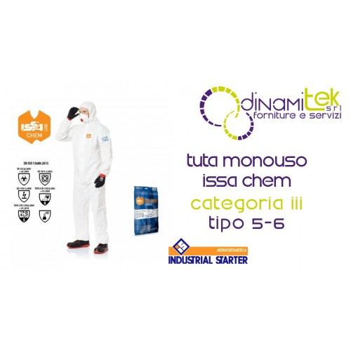 TUTA MONOUSO CATEGORIA III TIPO 5-6 ISSA CHEM INDUSTRIAL STARTER Dinamitek 1