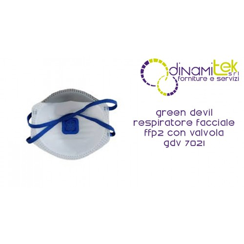 7021 GDV FACIAL RESPIRATOR FFP2 NR WITH GREEN DEVIL VALVE Dinamitek 1