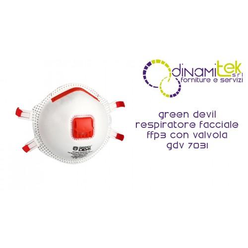 7031 GDV RESPIRATORE FACCIALE FFP3 NR CON VALVOLA GREEN DEVIL Dinamitek 1