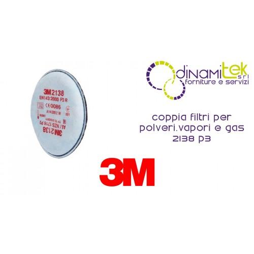 2138 PAIRE DE FILTRES P3 POUR POUSSIèRES, VAPEURS ORGANIQUES ET GAZ ACIDES 3M Dinamitek 1